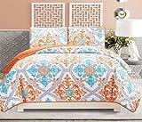 3-Piece Fine Printed Quilt Set Reversible Bedspread