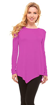 0d8d5ef8468 Red Hanger Womens Round Neck Tunic Top - Long Sleeve Handkerchief Hem,  Fuchsia M