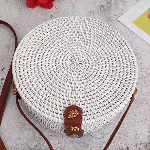 Kbinter Handwoven Round Rattan Straw Bag for Women Shoulder Leather Button Straps Natural Chic Handmade Boho Bag Bali Purse