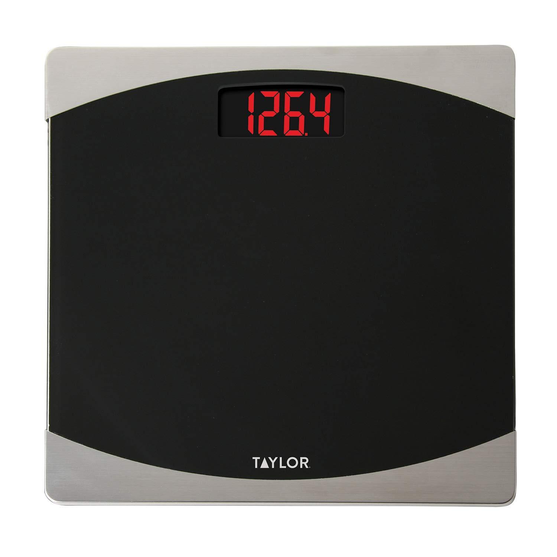 Taylor Precision Products Glass Digital Bath Scale Black Silver