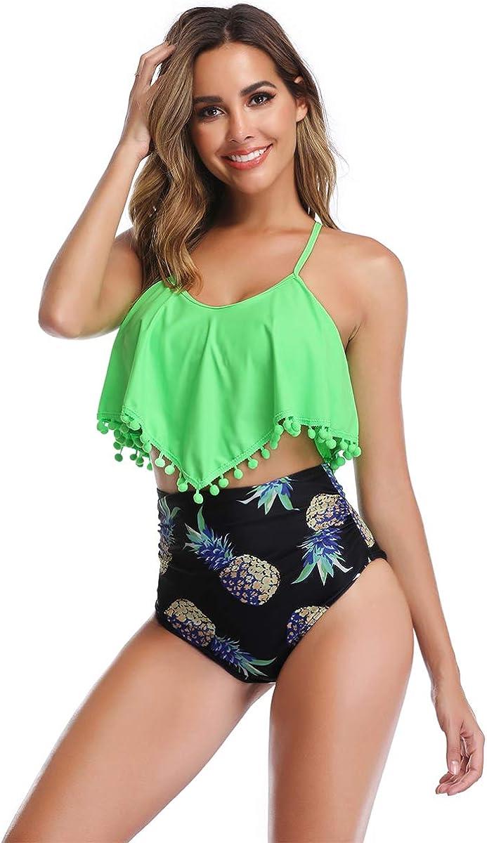 Heat Move Women Retro Flounce High Waisted Bikini Halter Neck Two Piece Swimsuit