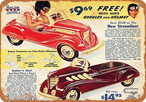 Wall-Color 7 x 10 Metal Sign - 1937 Streamliner Pedal Cars - Vintage Look