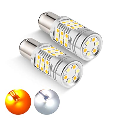 1157 Dual Color Switchback LED Bulbs leppein 2057 2357 7528 BAY15D P21/5W Turn Signal Bulbs 42-SMD 3030 Chips for Standard Socket,White/Amber, 1 Pair: Automotive [5Bkhe0904553]