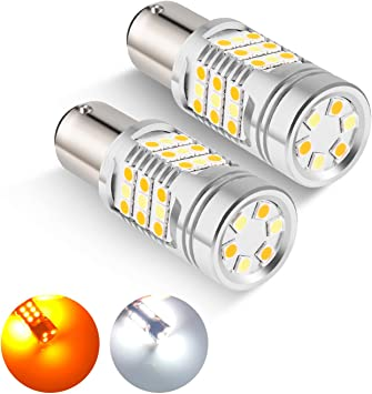Auxbeam 1157 LED Bulbs Parking Lights Set of 2 Turn Signal Lights 1157 Switchback Light Bulbs 800 Lumens 1157//2057// BAY15D 3030 SMD Chips LED Bulb White and Amber Dual Color for Car DRL