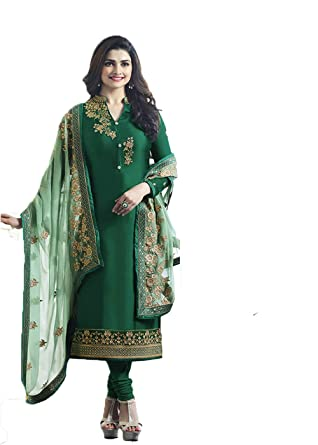 bd0158f504 Designer Desk Crepe Silk Dark Green Party wear Salwar Suit in bollywood  style with Heavy Embroidery Work Green Dupatta: Amazon.in: Clothing &  Accessories