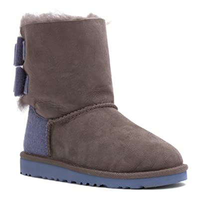 UGG Australia Kids Toddler Bailey Bow Wool Boot Grey Size 9 M US Toddler