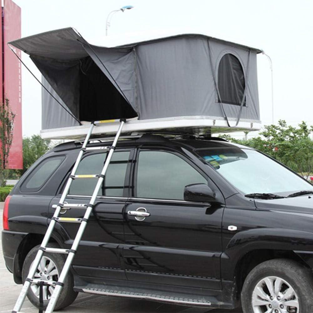 XPHW Carpa del Techo del Auto, Carpa para Acampar, Equipo para Acampar con Toldo ABS con Toldo ABS para Adultos con Capacidad para 2-3 Adultos, con Escalera Plegable Y Luces LED: Amazon.es: