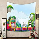 Gzhihine Custom tapestry Kids Tapestry Various Animals Riding on Train in the Park with Mountains Cartoon Style Illustration for Bedroom Living Room Dorm 60 W X 40 L Multicolor