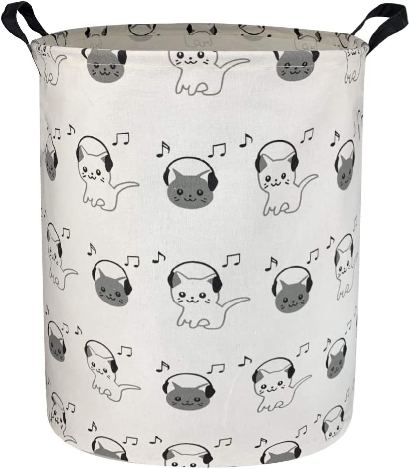 Sanjiaofen Large Storage Bins,Canvas Fabric Laundry Basket Collapsible Storage Baskets for Home,Office,Toy Organizer,Home Decor (Music cat)