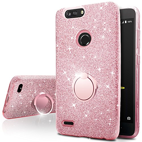ZTE Blade Z Max Case, ZTE Blade Zmax Pro 2 Case, ZTE Sequoia Case,Silverback Girls Bling Glitter Sparkle Case with Ring Stand, Soft TPU Outer Cover + Hard PC Inner Shell for ZTE Z982 -Rose Gold