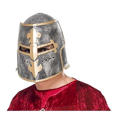 e7538f6b761a1 Amazon.com  Knight Helmet Costume Accessory Adult Medieval Crusader  Halloween Fancy Dress  Clothing