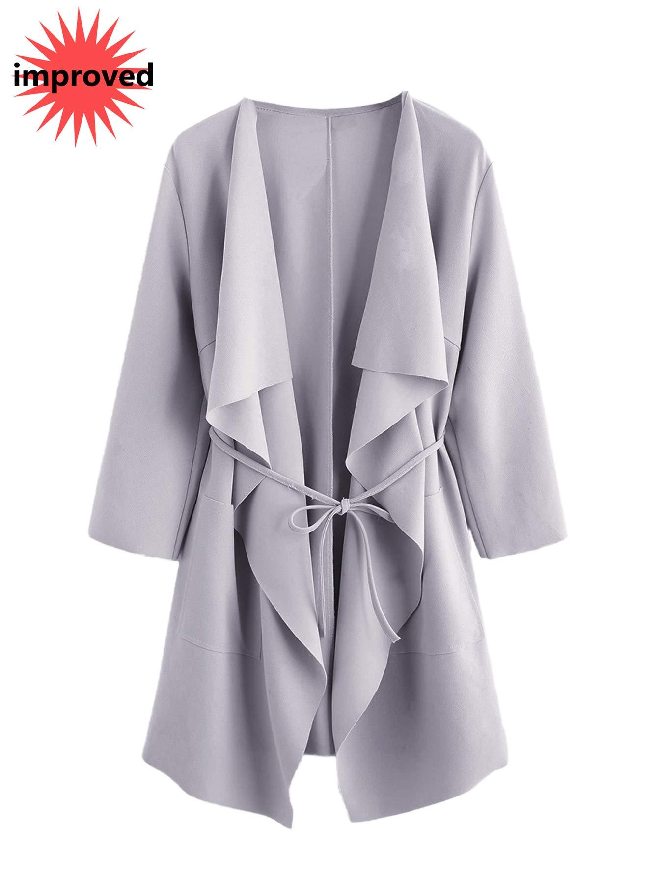 Romwe Women's Raw Cut Hem Waterfall Collar Long Sleeve Wrap Trench Coat Cardigan Grey S