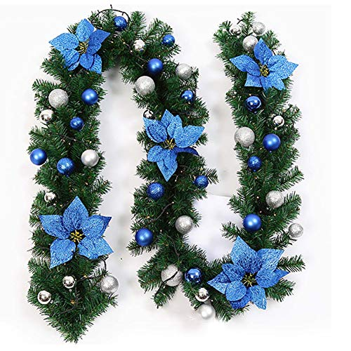 Uheng Need Assemble 9Ft Christmas Garland Tree Decorations with Bristle, Balls, Flowers, Green Wreath Xmas Hanging Ornaments Decor for Fireplace Mantel Stairs Wall Front Door Room(Blue) (Christmas Blue And Decor Green)
