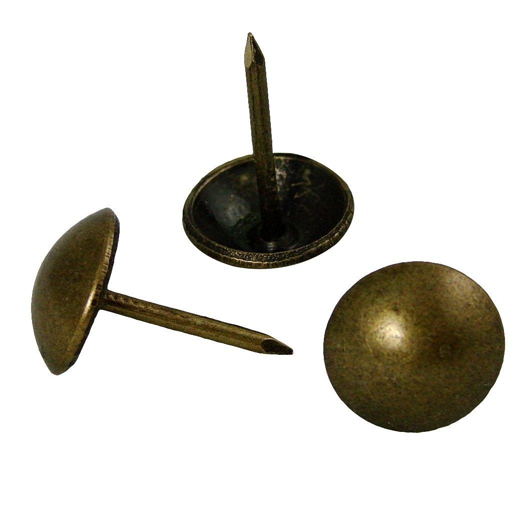 decotacks 500 PCS Antique Brass Finish Upholstery Nails, Furniture tacks, French Natural Thumb Tack Push Pin, 7/16'' Head Dia [Antique Brass, French Natural] DX0511AB500