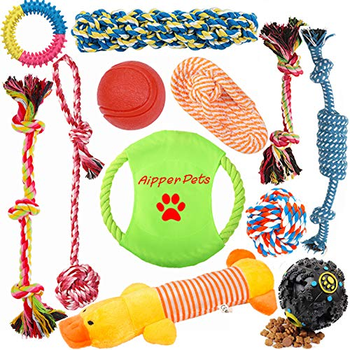 Aipper Dog Puppy Toys 12 Pack, Puppy Chew Toys for Playtime and Teeth Cleaning, IQ Treat Ball Squeak Toys and Dog Flying…