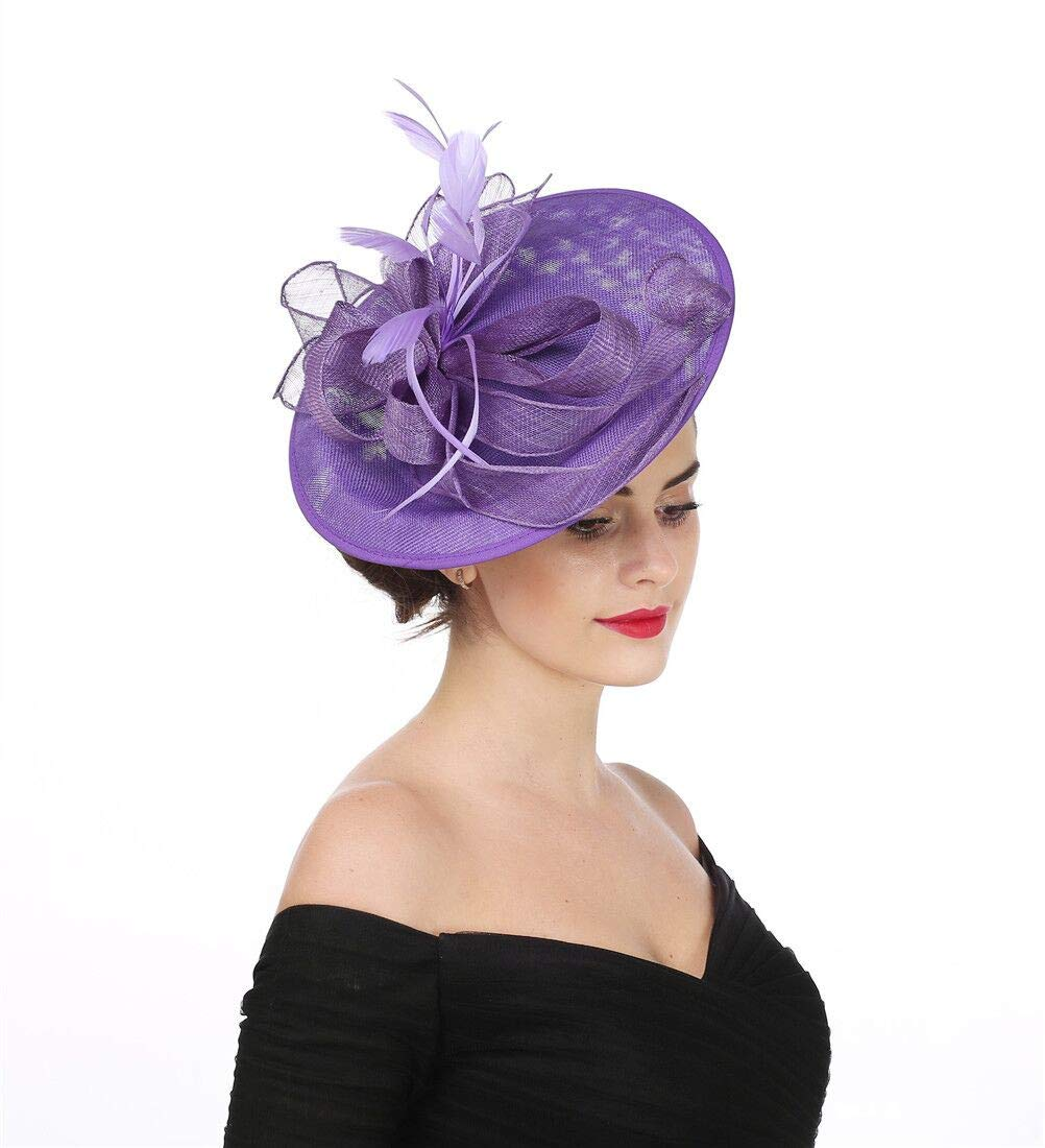SAFERIN Fascinators Hat Sinamay Flower Mesh Feathers on a Headband and a Clip Tea Party Headwear for Girls and Women (TA9-Purple)