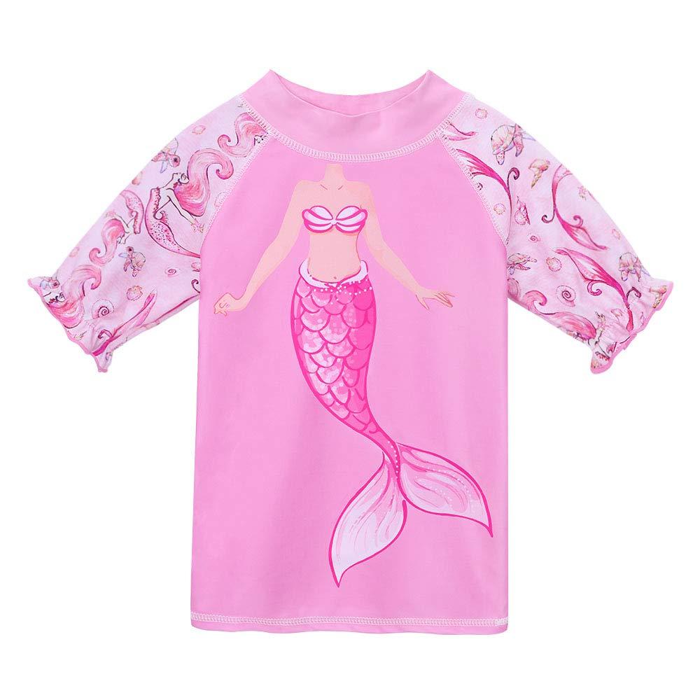 per estate spiaggia Huanqiue 2 costumi da bagno per bambine da 3-8 anni bella stagione a manica corta