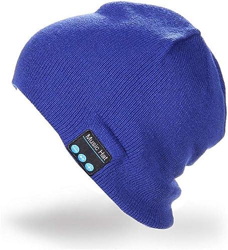 Winkeyes Music Soft Warm Beanie Hat Cap with Stereo Headphone Headset Speaker Bluetooth Mic Hands-Free for Men Women Speaker Winter Outdoor Sport Best Gift Blue