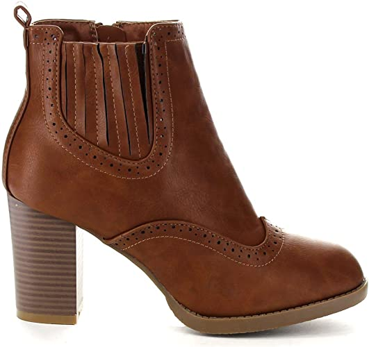 BELLAMARIE KENZIE-17 Women/'s Perforated Elastic Side Zip Stacked Ankle Bootie
