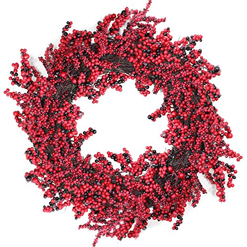 Red Berry Christmas Wreath - Northlight  Unlit Decorative Artificial Burgundy Red Berry Christmas Wreath, 22
