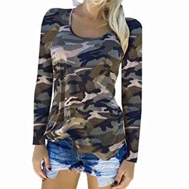 31f8ec518ec14 OVERMAL Womens Camouflage T-Shirt Long Sleeve Casual Loose Tops Ladies  Blouses Under 10 Dollars