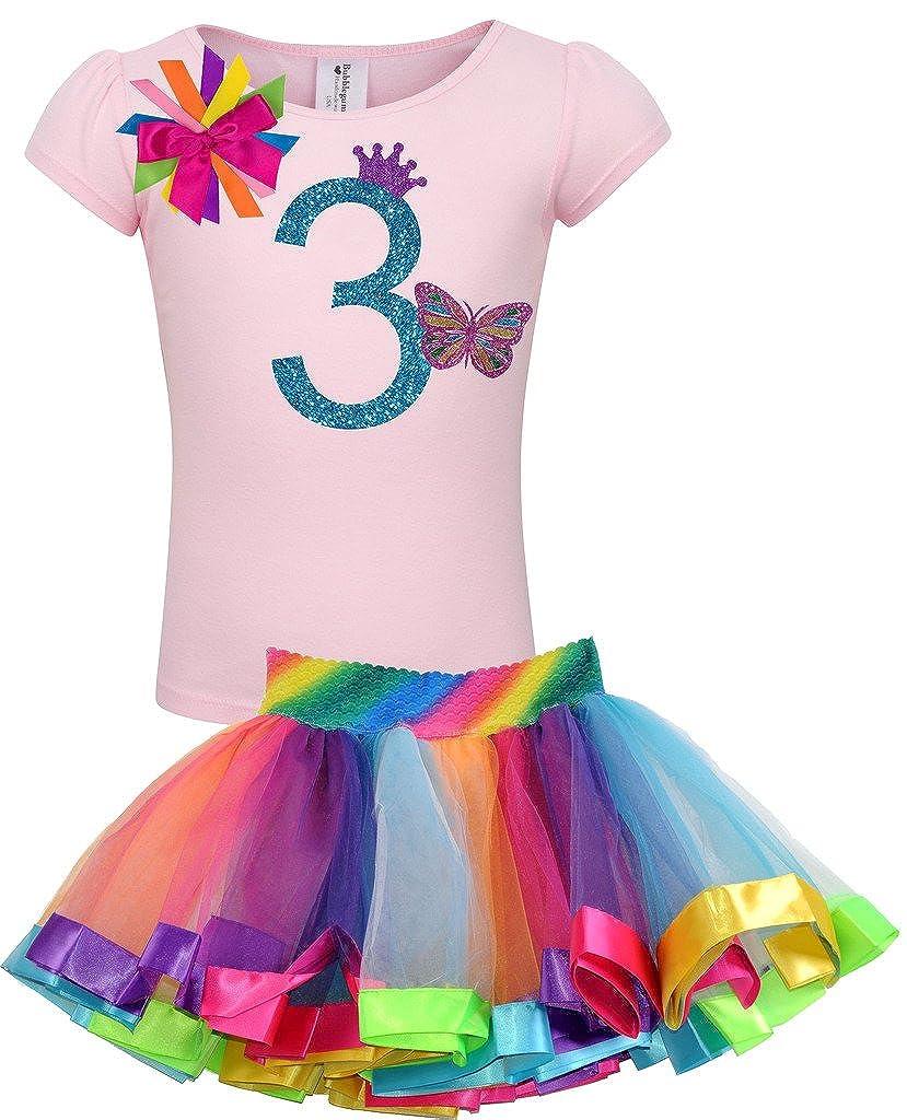 Bubblegum Divas Little Girls 3rd Birthday Pink Butterfly Shirt Rainbow Tutu Outfit
