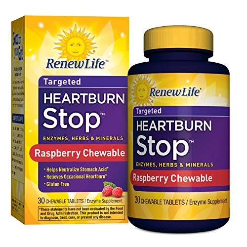 Renew Life – Heartburn Stop – enzyme supplement – 30 Raspberry flavor chewable tablets