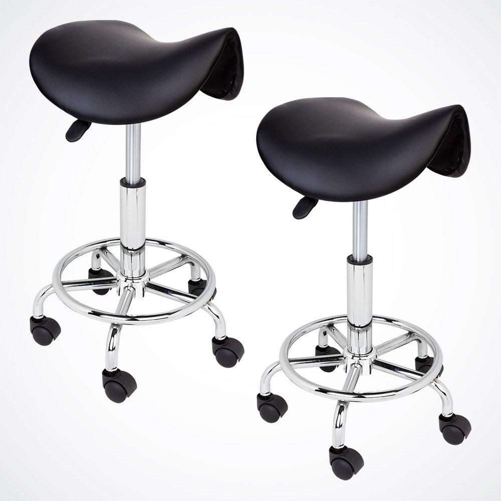 GotHobby 2 Black Salon Stool Saddle Chair Tattoo Facial Massage Spa PU Leather Hydraulic