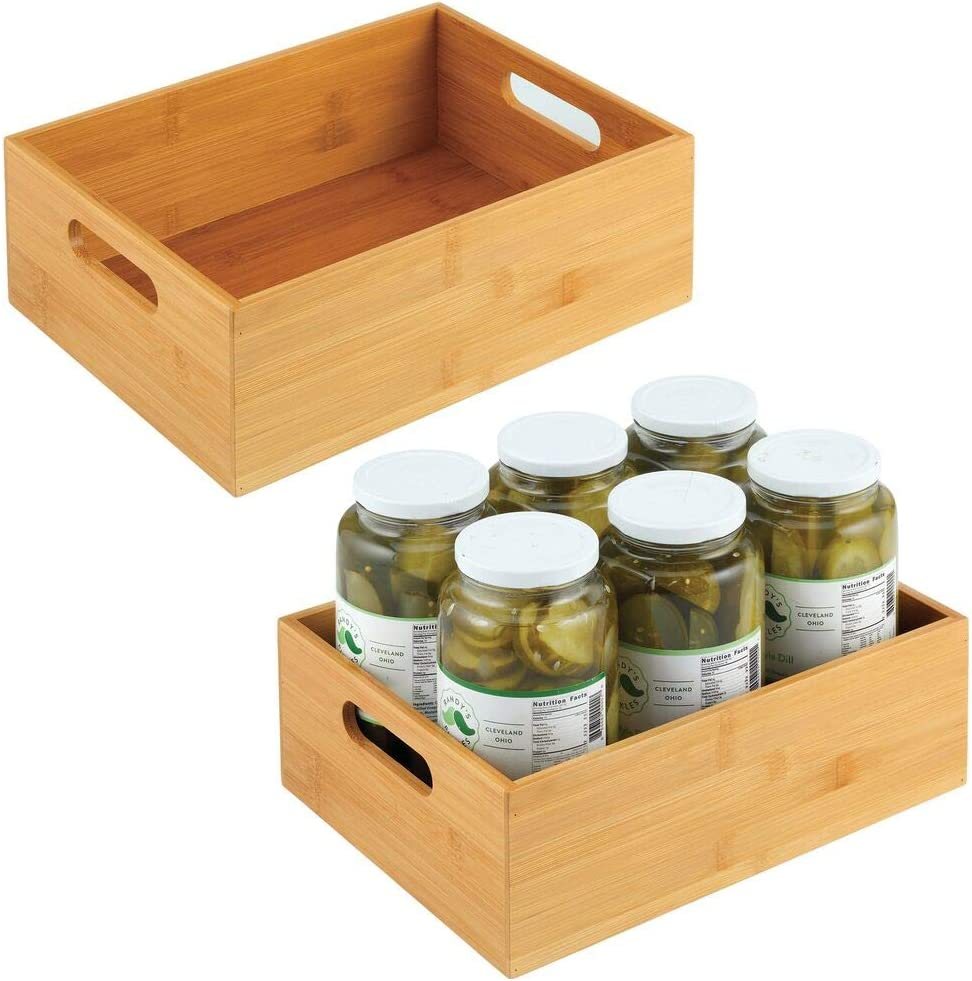 """mDesign Bamboo Kitchen Cabinet & Fridge Drawer Organizer Tray with Handle - Storage Bin for Cutlery, Serving Spoons, Cooking Utensils, Gadgets - 2 Pack - 9"""" Wide - Natural Wood Finish"""