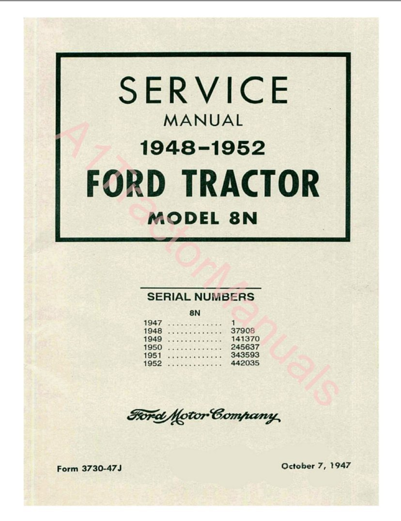 8n Ford 1948 1952 Tractor Manuals Set On Cd A1tractormanuals Wiring Diagram 0719574818330 Books