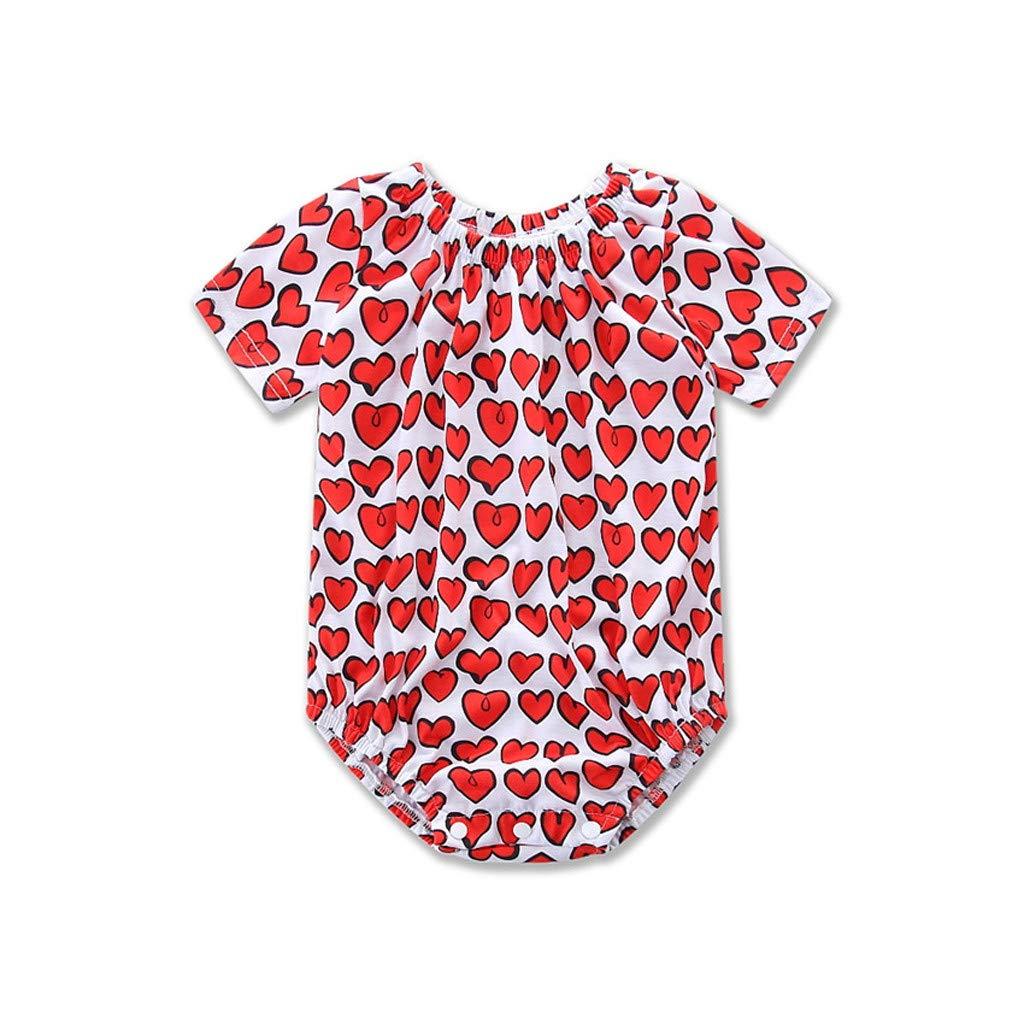 UNICLEESummer Infant Baby Girls Boys Short Sleeve Heart Print Romper Bodysuit Clothes Red, 6-12 Months