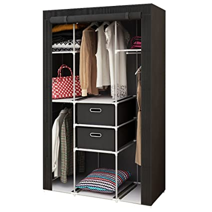 HOME BI Portable Wardrobe Closet, Non Woven Fabric Clothes Closet Storage  For Clothes With