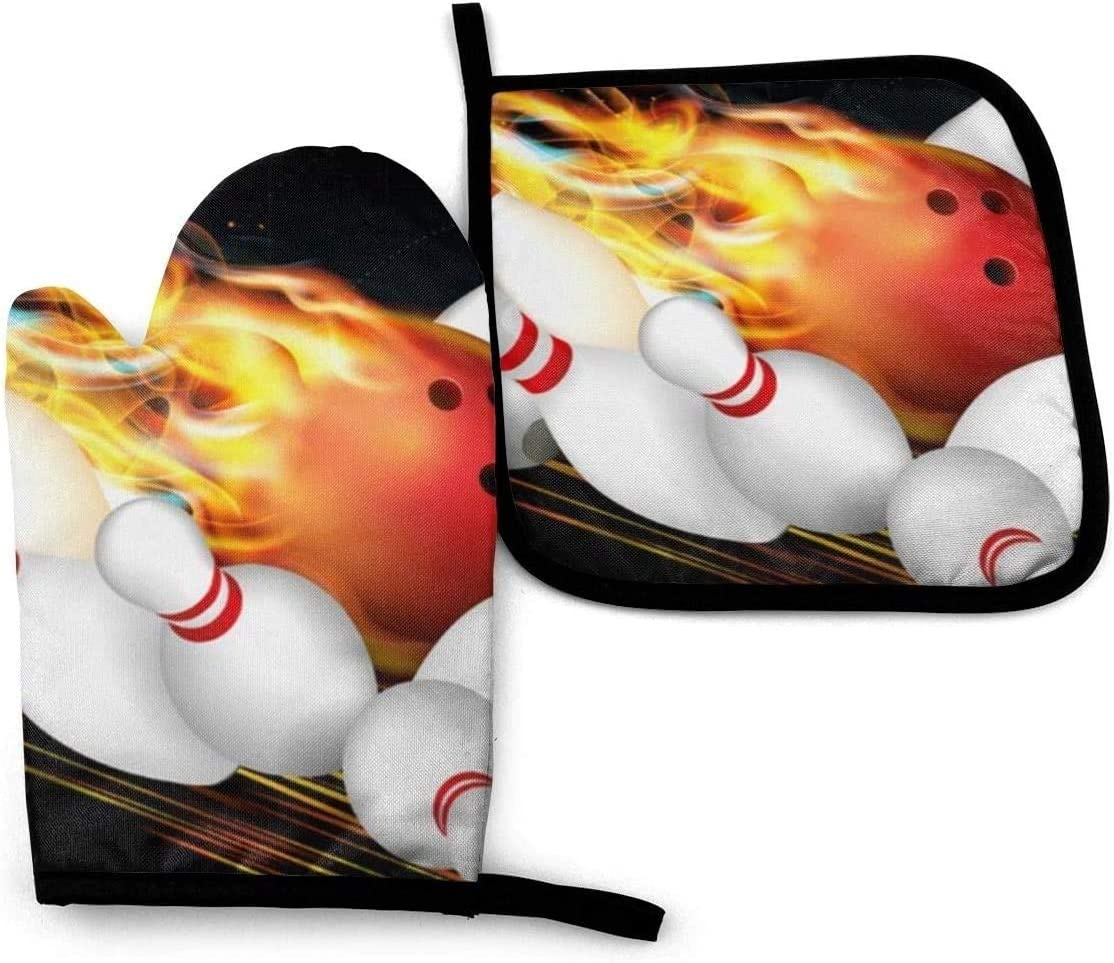 NA Oven Mitt & Pot Holders Set,Bowling Ball Kitchen Heat Resistant and Washable for Cooking Baking Grilling and Cooking Decorative Baking Kitchen Gift