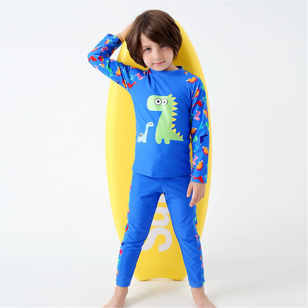 JELEUON Little Boys Two Pieces Full Body Long Sleeve Swimwear Harajuku Dinosaur Print UV Rash Guard Sun Protection Swimsuit