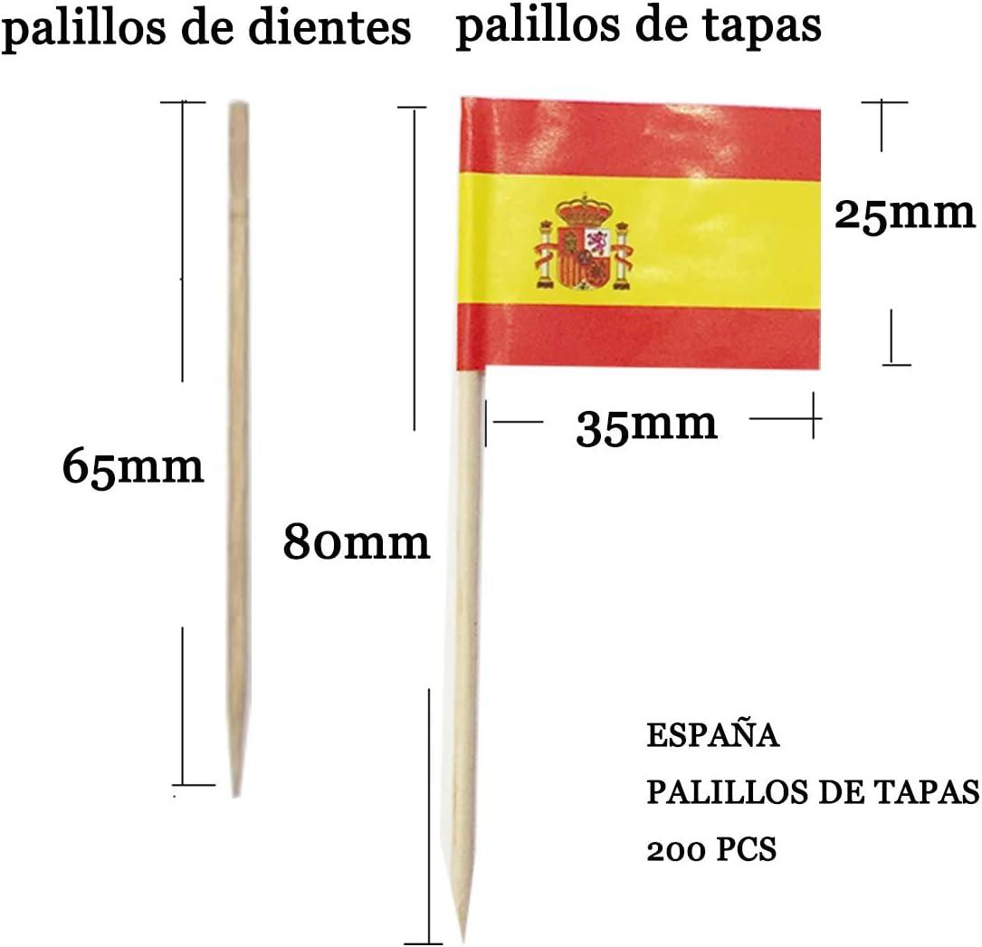 Compra NEW TORO Palillos de Tapas con Bandera, Toothpick Flags Etiquetas Pequeñas para Magdalenas Decorar Tartas Bocadillos Cumpleaños Boda Fiesta de Bienvenida 3.5 * 2.5cm (ESPAÑA con Escudo 200PCS) en Amazon.es