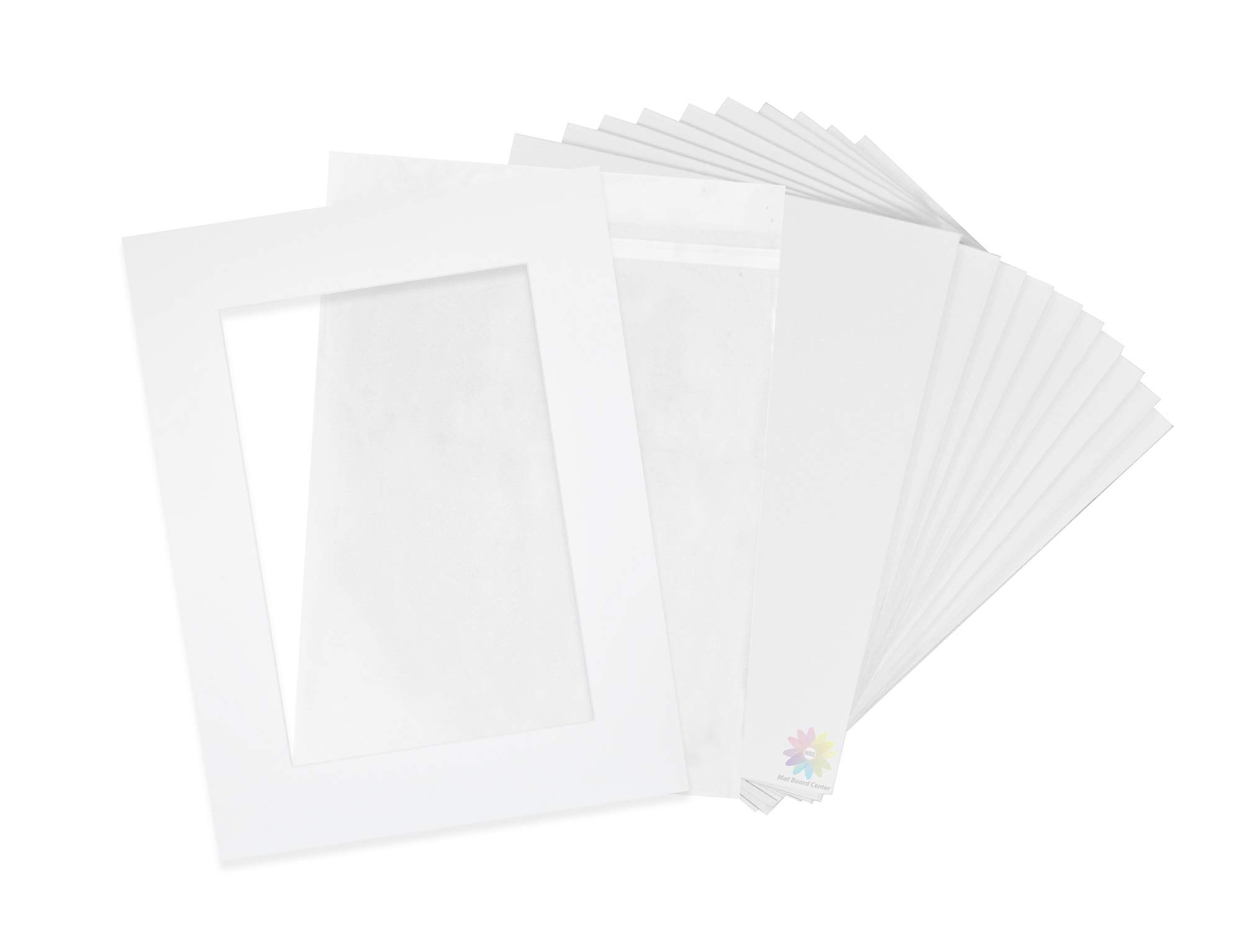 Pack of 10-18x24 Pre-Cut 12x18 - White Mats - for Pictures, Photos, Framing - Kit Includes: 10 White Backboards and 10 Clear Bags - Acid Free, 4-ply Thickness, White Core