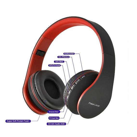PowerLocus P1 - Auriculares Bluetooth inalambricos de Diadema Cascos Plegables, Casco Bluetooth con Sonido Estéreo con Conexión a Bluetooth Inalámbrico y ...
