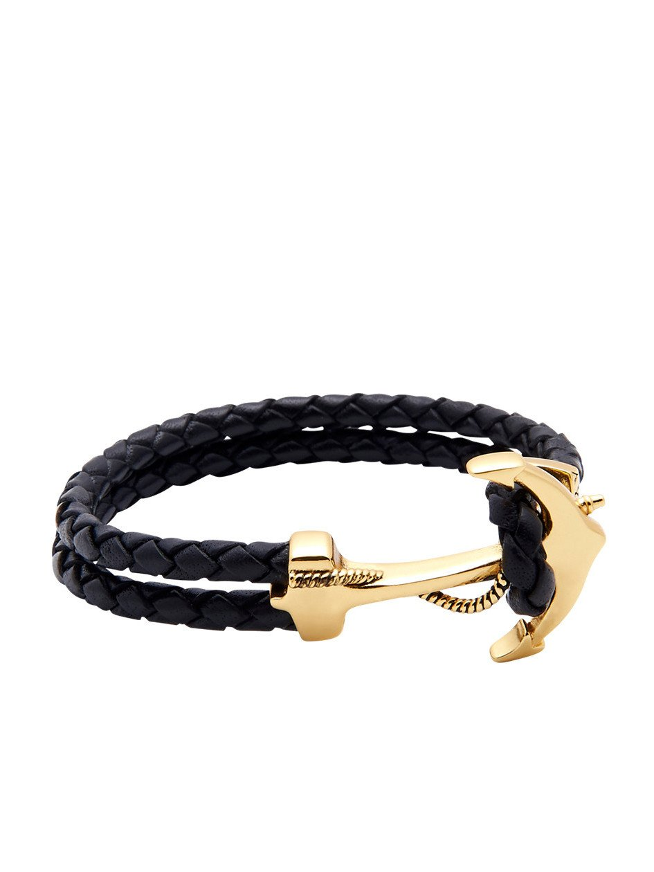 Men's Black Leather Bracelet with 925 Solid Silver 18K Gold Plated Anchor, Size XL