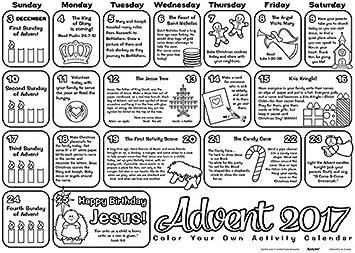 CB Catholic Calendario de adviento 2017 para Colorear, tamaño Grande, para Estudiantes, Paquete de 50: Amazon.es: Hogar