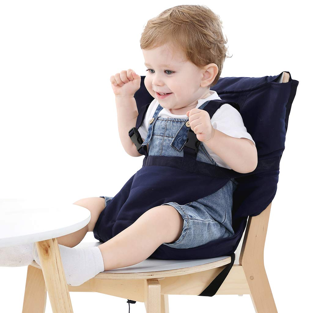 Easy Seat Portable Travel High Chair Safety Washable Cloth Harness for Infant Toddler Feeding with Adjustable Straps Shoulder Belt (Blue) by Vine