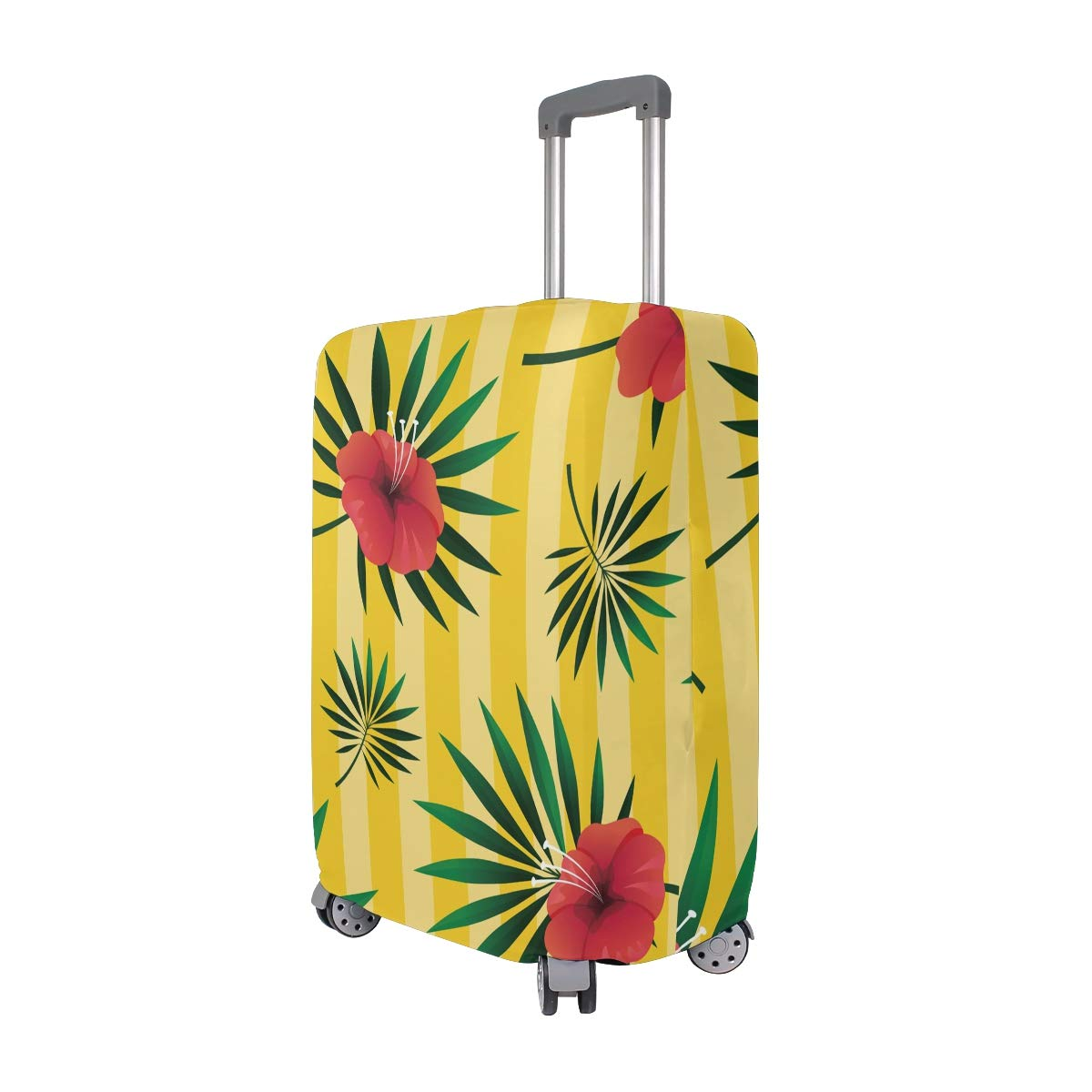 Baggage Covers Tropical Leaf Floral Yellow Striped Washable Protective Case