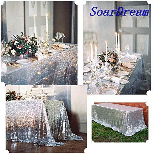 SoarDream 50x50 inch Silver Sequin Tablecloth Glitter Table Cloth Square