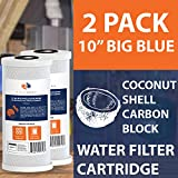 Carbon Block Water Filter 2-PACK Of 5 Micron Big Blue Coconut Shell Carbon Block Water Filter Cartridge 10
