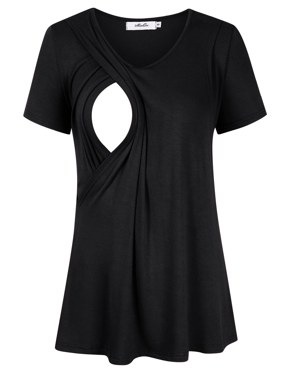 MissQee Maternity Nursing Tops Short Sleeve Breastfeeding T-Shirts L Black