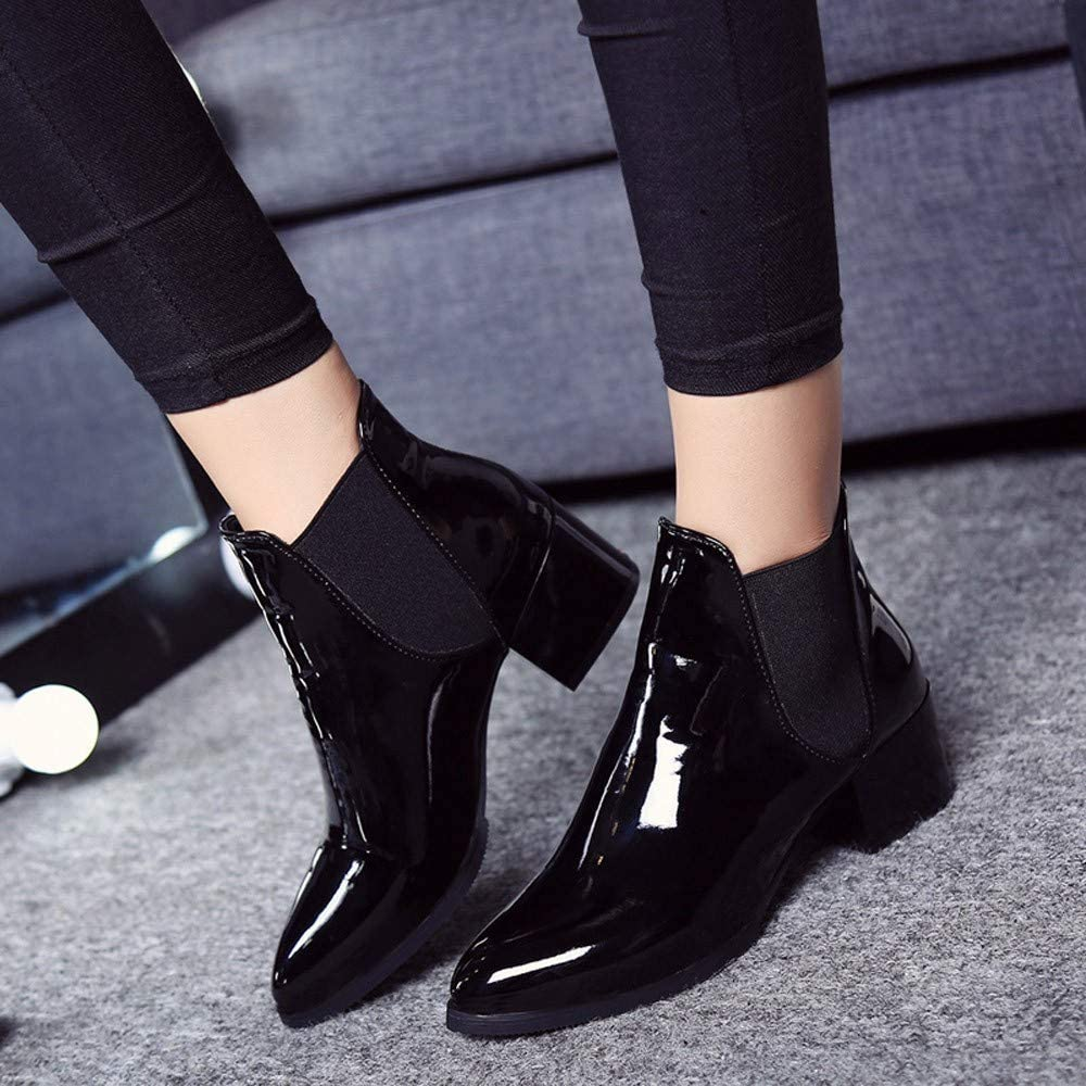 IEason Fashion Women Elasticated Patent Leather Boots Pointed Low Heel Boots Women Ankle Bootie