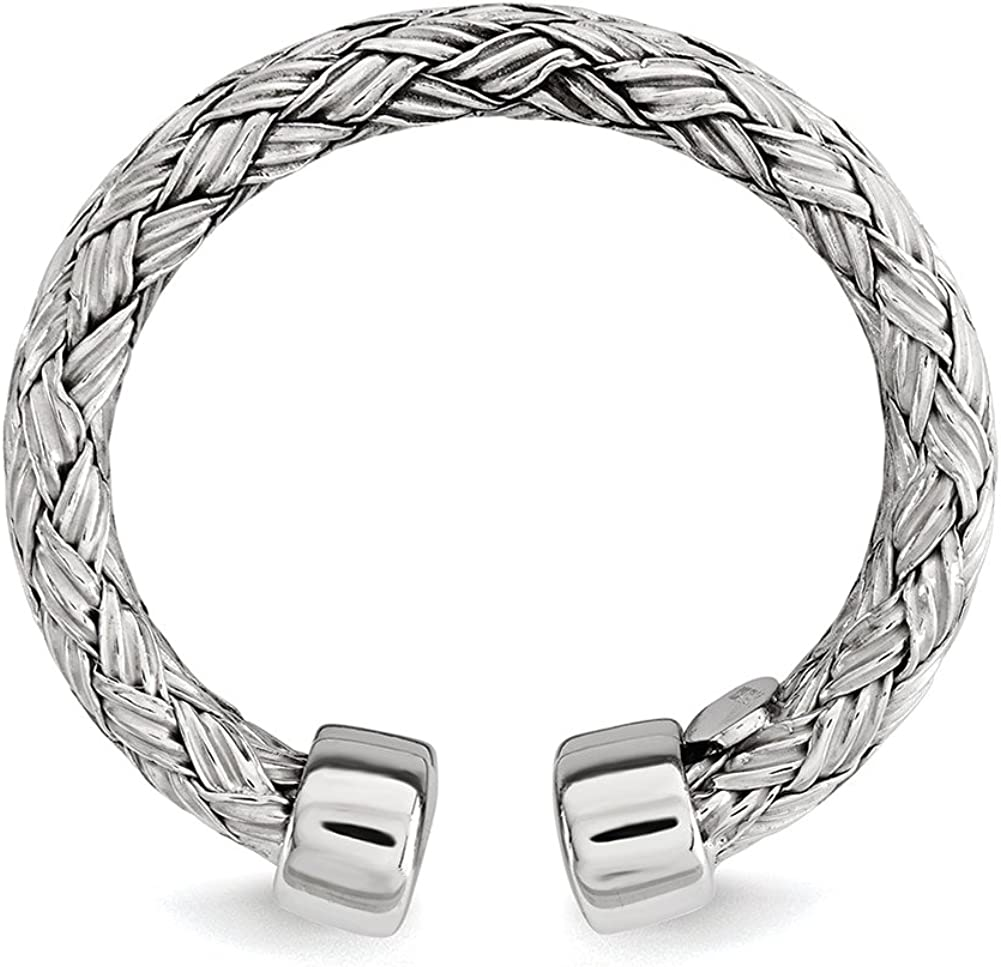 Lex /& Lu Sterling Silver Polished Rhodium-plated Double Strand Adjustable Ring