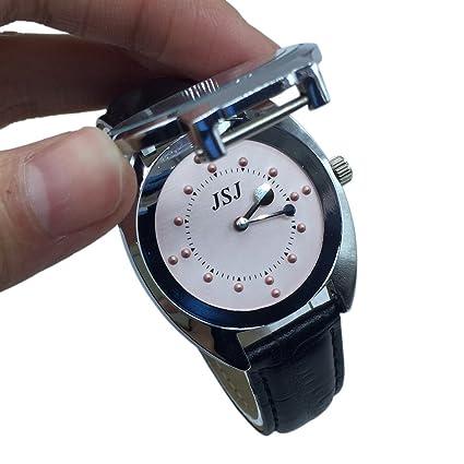 Acero inoxidable taktile Reloj para personas de Ciegos funciona con pilas, pink mit lederband