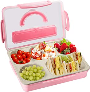 Kids Adults Bento Lunch Box, Durable Leak Proof 5-Compartment Food Container, BPA Free Portion Meal Prep Snack Packing Dishwasher Microwave Safe for Toddlers Child School Travel,camping,picnic-pink