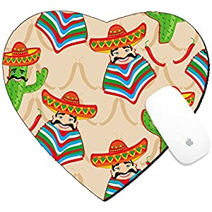 Luxlady Mousepad Heart Shaped Mouse Pads/Mat design IMAGE ID: 24893163 Mexican pattern with cactus hat and chill illustration over background