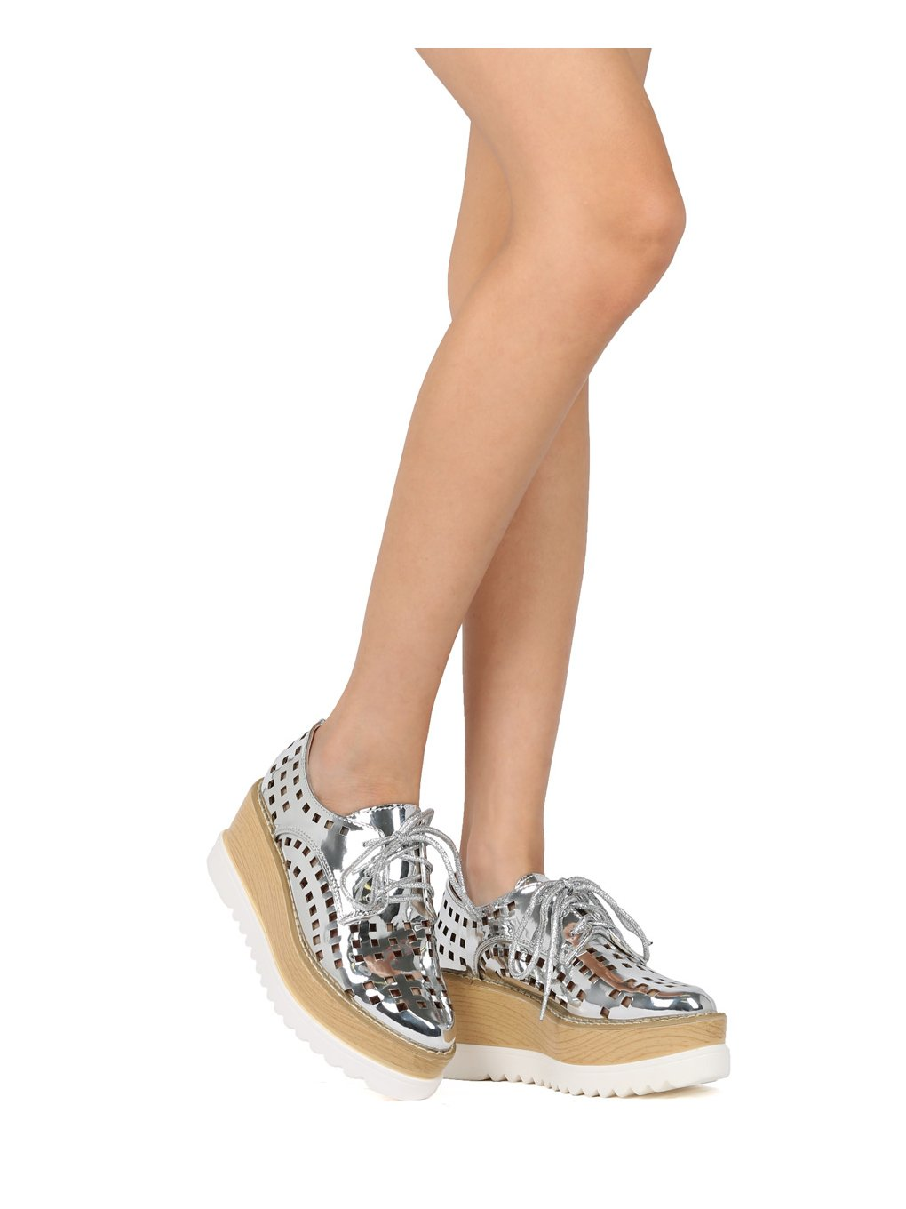 Alrisco Women Perforated Pointy Lace Up Double Stacked Platform Spectator Creeper HF54 - Silver Metallic (Size: 7.0) by Alrisco (Image #3)